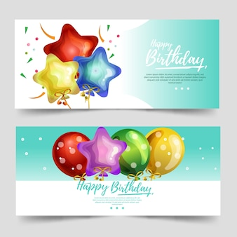 Милый баннер темы дня рождения с бирюзовым цветом и различным воздушным шаром