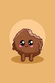 Cute biscuit icon cartoon illustration