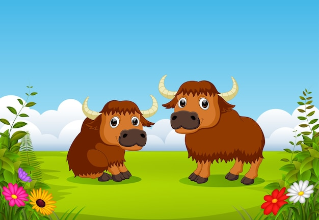 Cute bison cartoon with nature scenery
