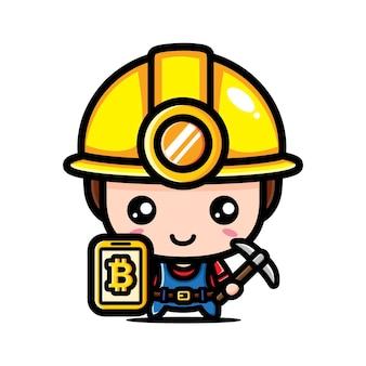 귀여운 비트 코인 광부 캐릭터 디자인