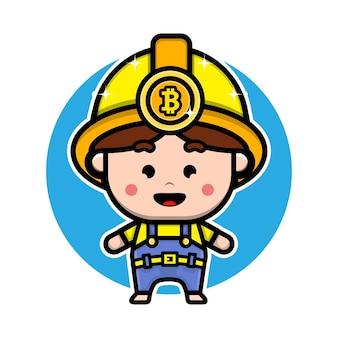 Cute bitcoin miner character design