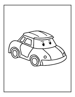 子供のためのかわいい黒と白の車のぬりえ