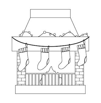 Симпатичный черно-белый дымоход с чулками. рождественская иллюстрация камина с носками с подарками. значок зимней линии. новогодний принт или раскраска