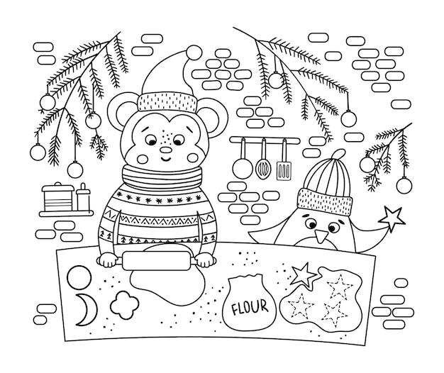 원숭이와 펭귄이 쿠키를 굽는 귀여운 흑백 크리스마스 준비 장면. 동물과 함께 겨울 라인 그림입니다. 재미있는 카드 디자인. 웃는 문자로 새해 인쇄