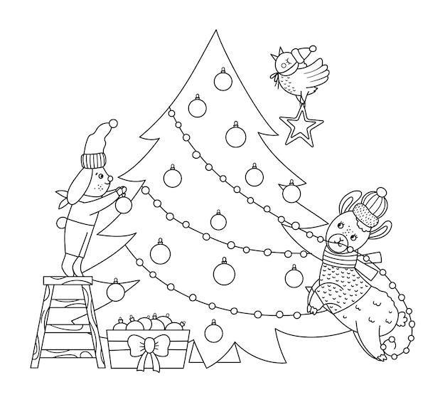 モミの木を飾るウサギ、鳥、ラマとかわいい黒と白のクリスマスの準備シーン。動物と冬のラインイラスト。面白いカードのデザイン。笑顔のキャラクターと新年のプリント