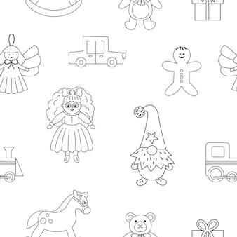 크리스마스 장난감으로 귀여운 흑백 매끄러운 패턴입니다. 아이들을 위한 새해 선물이 있는 벡터 라인 배경. 산타클로스가 있는 디지털 종이는 아이들을 위한 선물입니다.