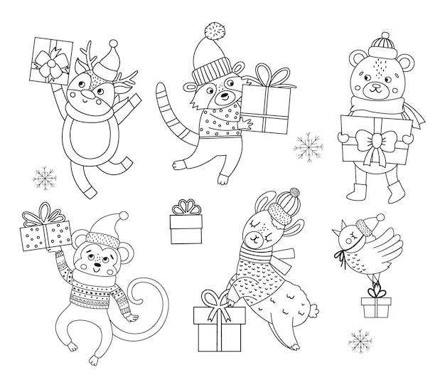 선물과 눈송이가 있는 모자, 스카프, 스웨터를 입은 귀여운 흑백 벡터 동물. 겨울 선물 세트입니다. 재미있는 크리스마스 색칠 공부 페이지입니다. 웃는 문자로 새해 인쇄