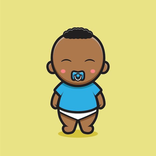 青いtシャツとかわいい黒の赤ちゃんのキャラクター。黄色の背景に分離されたデザイン。