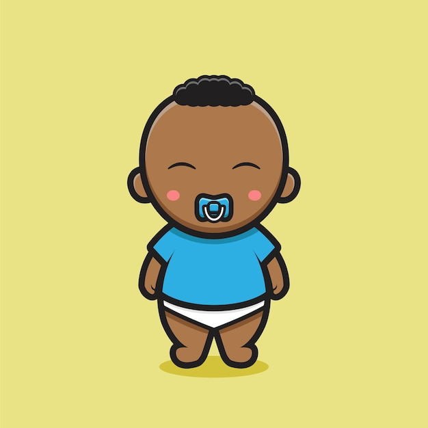 Cute black baby character with blue t-shirt. design isolated on yellow background.