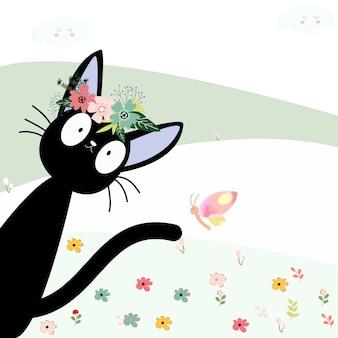 Симпатичная черная кошка и ее мультфильм с цветочной короной
