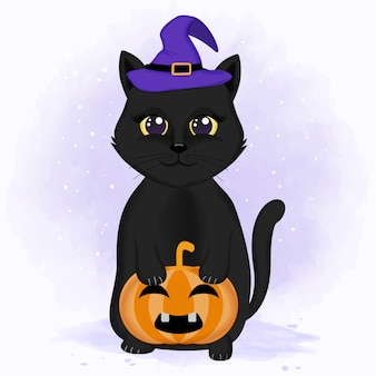 귀여운 검은 고양이 호박 손으로 그린 할로윈 그림