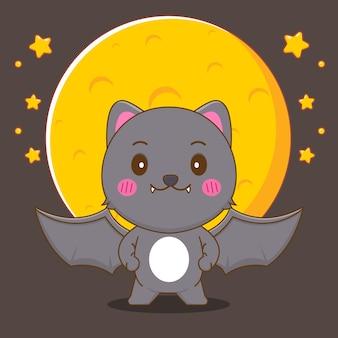 Милая черная кошка летучая мышь стоит перед большой луной