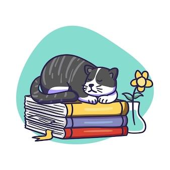 Cute black cat character sleep on pile of books illustration