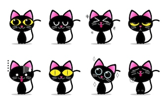 Cute black cat characters with different emotions