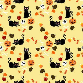 Cute black cat and halloween element seamless pattern.