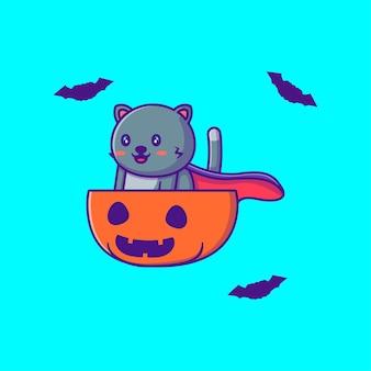 Милый черный кот в тыкве тыква счастливого хэллоуина карикатура иллюстрации