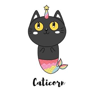 Cute black cat mermaid unicorn cartoon hand drawn