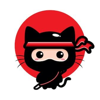 귀여운 검은 고양이 닌자 캐릭터