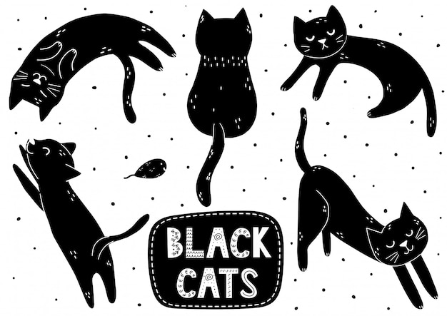 Cute black cat set. doodle kitten in different poses collection