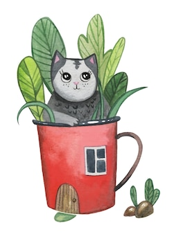 빨간 컵 하우스에 앉아 귀여운 검은 고양이.