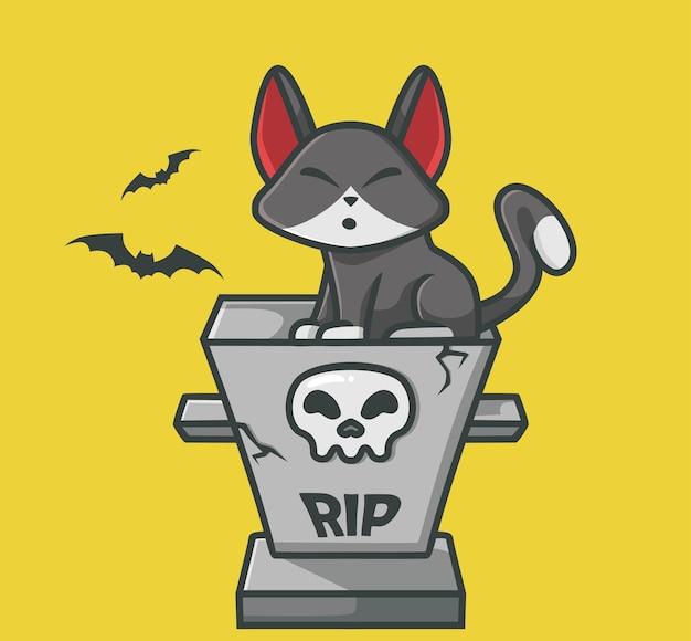 무덤 만화 동물 할로윈 개념 고립 된 그림에 앉아 귀여운 검은 고양이