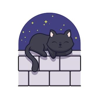 Cute black cat sleeping illustration design