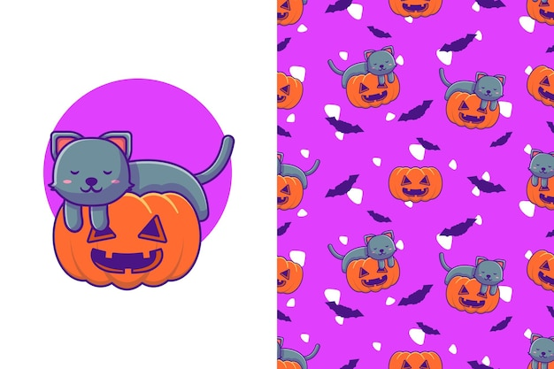 Cute black cat sleeping in pumpkin happy halloween with seamless pattern