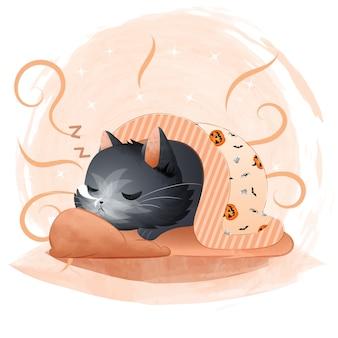 Милый черный кот спит с одеялом с рисунком хэллоуина.
