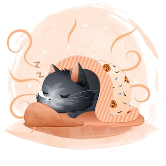 Cute black cat sleeping with a halloween pattern blanket.