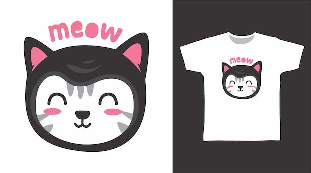 귀여운 검은 고양이 티셔츠 디자인