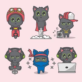 Набор векторных иллюстраций милый черный кот