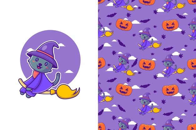 Cute black cat witch happy halloween with seamless pattern