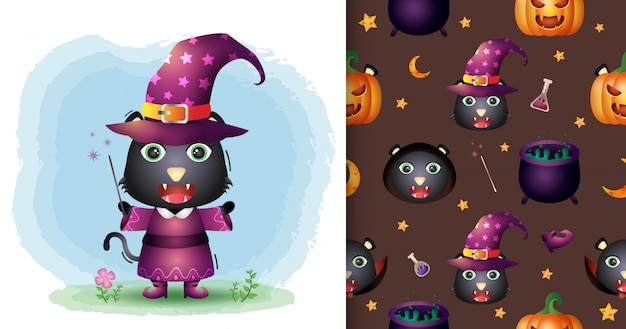 A cute black cat with costume halloween character collection. seamless pattern and illustration designs