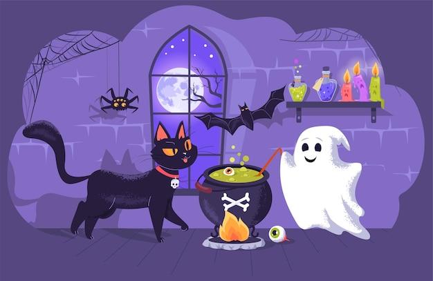 할로윈 파티를 위해 물약을 준비하는 친구 유령과 함께 귀여운 검은 고양이