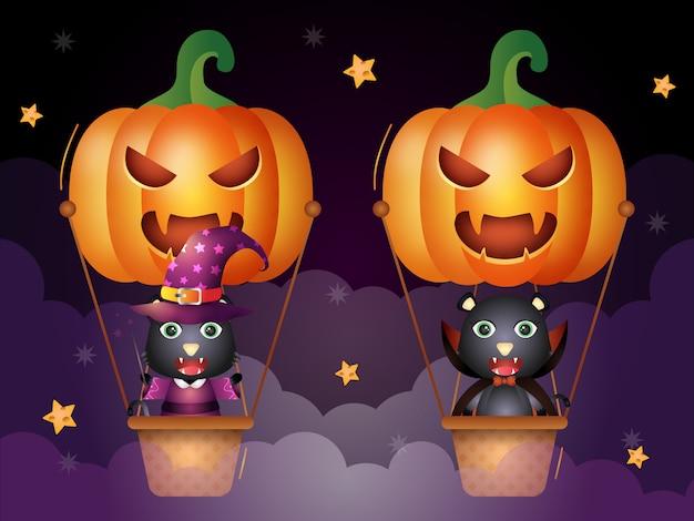 Cute black cat with halloween costume on pumpkin air balloon