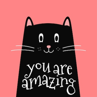 Cute black cat with inspirational quote