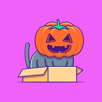 Cute black cat with pumpkin costume happy halloween cartoon illustrations