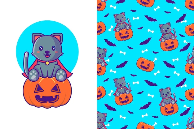 Cute black cat with pumpkin happy halloween with seamless pattern