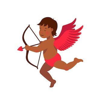 Cute black cupid with bow and arrow illustration