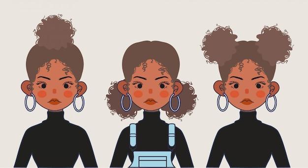 かわいい黒の女の子のイラスト。孤立した背景に黒い女の子のヘアスタイル。