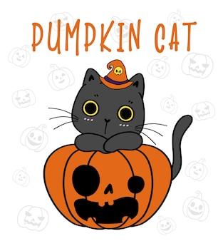 Cute black kitten cat on funny face craved pumpkin halloween pumpkin meow cartoon flat vector