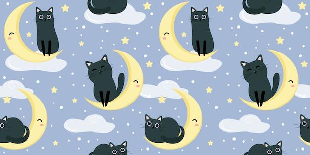 Cute black kitten illustration in seamless pattern