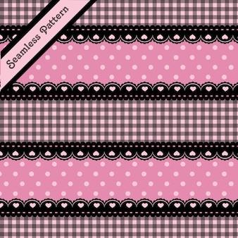 Симпатичное черное кружево и розовый бесшовный узор premium векторы
