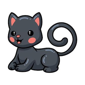 横になっているかわいい黒い小さな猫の漫画