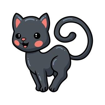 Милый черный котенок мультфильм позирует
