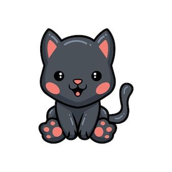 かわいい黒い小さな猫の漫画が座っています