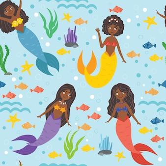 귀여운 검은 인어. 긴 머리, 아프리카 계 미국인 소녀. 바다, 파도, 불가사리, 물고기, 조류, 거품. 어린이를 위한 바다 패턴입니다. 원활한 패턴, 벡터 일러스트 레이 션입니다.