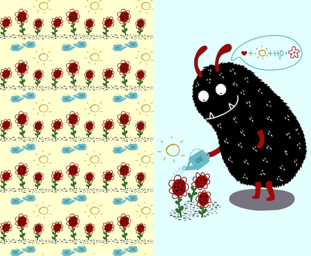 Cute black monster and flowers and flower seamless pattern