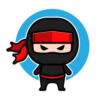 Cute black ninja cartoon character design