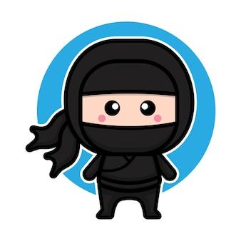 Cute black ninja character vector